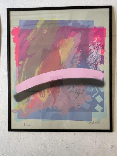 Onsberg rosa lila färglitografi