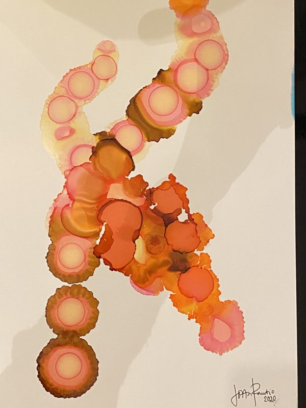 """""""Cirkulärt"""" Alco Ink abstrakt komposition Målning av Lotta Rautio"""